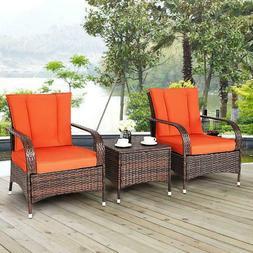 3PCS Outdoor Patio Mix Brown Rattan Wicker Furniture Set Sea