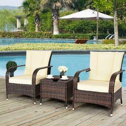 Goplus 3PCS Outdoor Patio Mix Brown Rattan Wicker Furniture