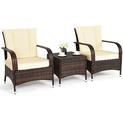 3PCS Outdoor Patio Mix Brown  Rattan Wicker Furniture Set Se