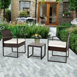 3PCS Outdoor Patio PE Rattan Wicker Coffee Table Bistro Furn
