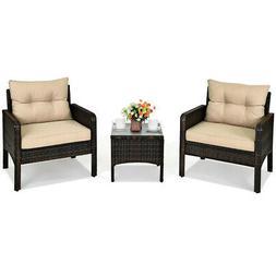 3PCS Outdoor Rattan Conversation Set Patio Garden Furniture