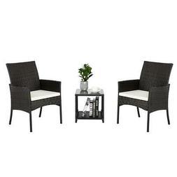 3Pcs Patio Furniture Rattan Sofa Set Garden Yard /w  Cushion