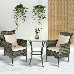 3pcs patio rattan furniture set chairs