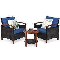 3PCS Patio Rattan Furniture Set Conversation Bistro Cushion