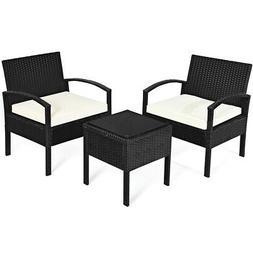 3PCS Patio Rattan Furniture Set Conversation Sofa Cushioned