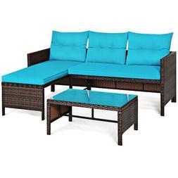 3PCS Patio Rattan Sofa Set Outdoor Wicker Sectional Conversa