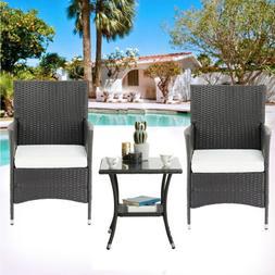 3PCS Patio Rattan Wicker Sofa Set Cushined Couch Furniture O