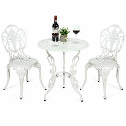 3PCS Patio Table Chairs Furniture Bistro Set Cast Aluminum O