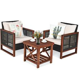 3PCS Patio Wicker Furniture Set Conversation Bistro Cushion