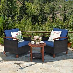 3PCS Patio Wicker Rattan Conversation Set Outdoor Furniture