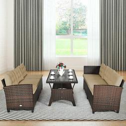 3PCS Rattan Dining Set Patio Furniture 6 Seats Sofa Cushione