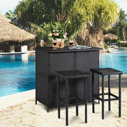GOPLUS 3PCS Rattan Wicker Bar Set Patio Outdoor Table & 2 St