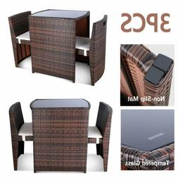 3PCS Wicker Bistro Set Patio Furniture Space Save Rattan Tab