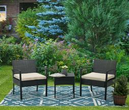 3pcs Wicker Rattan Patio Furniture Conversation Sofa Set Gar
