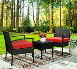 3pcs Wicker Rattan Patio Furniture Sofa Set Cushion Coffee T