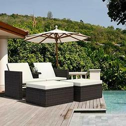 3Ps Wicker Chaise Outdoor Storage Sun Lounge Daybed w/Cushio
