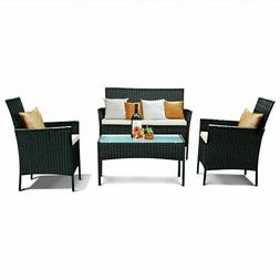 4 PC Outdoor Rattan Furniture Set Loveseat Sofa Cushioned Pa
