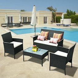 4 PC Outdoor Rattan Furniture Set Loveseat Sofa Cushioned Pa