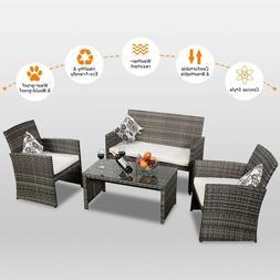 Goplus 4 PC Rattan Patio Furniture Set Garden Lawn Sofa Cush