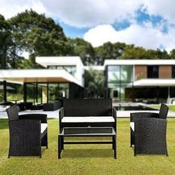 4 PC Rattan Patio Furniture Set Garden Lawn Sofa Black Wicke