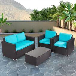 4 PC Rattan Patio Furniture Set Garden Lawn Sofa Gray Wicker