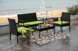 4 pc rattan patio furniture set garden
