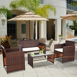 4 PC Rattan Patio Furniture Set Garden Lawn Sofa Cushioned S