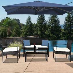 4pcs Patio Furniture Set Rattan Wicker Sectional Sofa Outsid