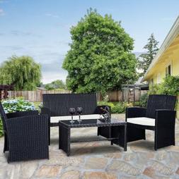 4 Pc Rattan Wicker Outdoor Patio Backyard Lawn Balcony Garde