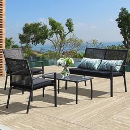 4 PC Rattan Wicker Patio Furniture Set Sofa & Table Set Cush