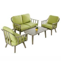 4 PCS Aluminum Patio Furniture Set Garden Lawn Sofa Cushione