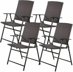 4 PCS Folding Patio Chair Set Outdoor Pool Lawn Portable Wic