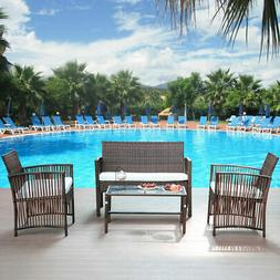 4 Pcs Outdoor Furniture Rattan Chair & Table Patio Set Outdo