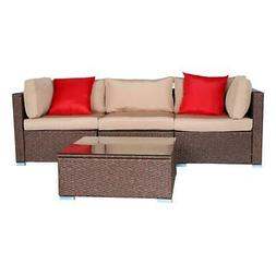 4 Pcs Patio Rattan Wicker Sofa Set Yard Garden Furniture Out