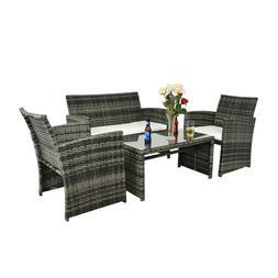4 PCS Outdoor Patio Sofa Rattan Wicker Sectional Furniture S