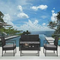 4 PCS Outdoor Patio Rattan Wicker Furniture Set Table Sofa C
