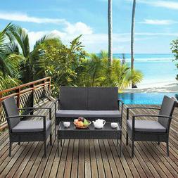 4 PCS Outdoor Patio Rattan Wicker Furniture Set Table Sofa C