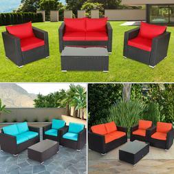 4 PCS Patio Furniture Sectional Sofa Set Outdoor Rattan Wick