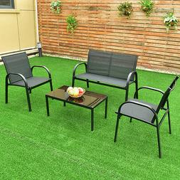 4 PCS Patio Furniture Set Sofa Coffee Table Steel Frame Gard