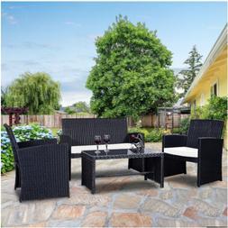 4 Pcs Patio Garden Wicker Rattan Cushioned Sofa Set Outdoor