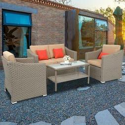 4 PCS Patio Rattan Furniture Set Cushioned Sofa Coffee Table
