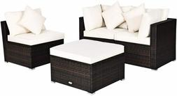 4 PCS Patio Rattan Sofa Set, Outdoor Wicker Sectional Furnit