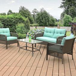 4 Pcs Patio Rattan Sofa Set Wicker Garden Furniture Outdoor