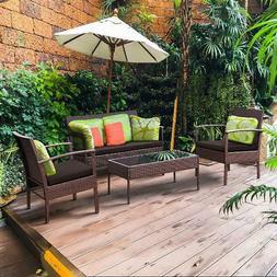 4 PCS Patio Rattan Wicker Furniture Set Loveseat Sofa Cushio