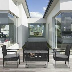 4 PCS Patio Rattan Wicker Furniture Set Outdoor Cushions Con
