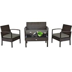 4 PCS Patio Rattan Wicker Furniture Set Loveseat Sofa Cushio