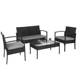 4 PCS Rattan Patio Furniture Set Garden Lawn Sofa Set /w Cus