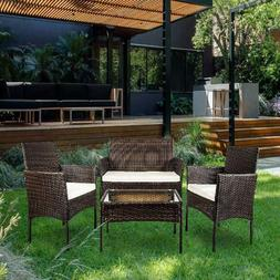 4 Piece Outdoor Garden Rattan Patio Furniture Set Cushioned