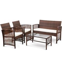 4 Piece Outdoor Patio Furniture Set Rattan Wicker Seat Chair
