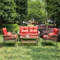 4 Piece Outdoor Patio Garden Conversation Furniture Sets for